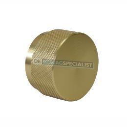 Knop rond ribbel H-30mm Messing geborsteld  leverbaar in 2 maten