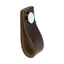 Leren Lus greep 65x25x25mm bruin / gl.chroom