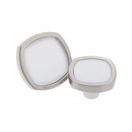 RVS knop  met wit acryl vlak  leverbaar in 2 maten