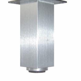 Vierkante stelpoot 40x40mm  plaat Alu verstelbaar